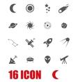 grey space icon set vector image vector image