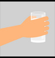 hand holding glass with fresh milk vector image vector image