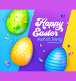happy easter banner with colorful eggs greeting vector image