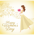happy womens day card girl bouquet flowers heart vector image vector image