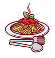 hot spaghetti with delicious bolognese sauce and vector image vector image
