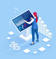 isometric digital monitor with infographics vector image vector image