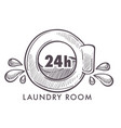 laundry room 24 hours every day and night logotype vector image vector image