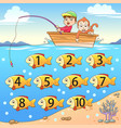 learn counting number with fishing vector image