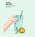 lemon water drinking woman holding glass water vector image