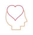 line silhouette man with heart love design inside vector image