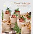 merry christmas paper handmade gifts with red vector image vector image
