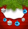 New Year greeting card with colorful balls and fir vector image vector image
