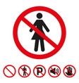 no woman sign on white background vector image