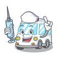 nurse ambulance character cartoon style vector image