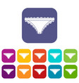 panties with frill icons set flat vector image vector image