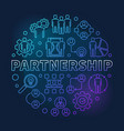 partnership round blue linear vector image vector image