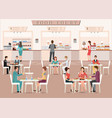 people eating in a food court in a shopping mall vector image