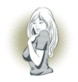 People in retro style Shy girl vector image vector image