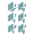 power plug types electricity energy box connector vector image vector image