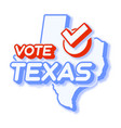 presidential vote in texas usa 2020 state map vector image vector image