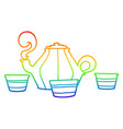 rainbow gradient line drawing cartoon teapot and vector image vector image