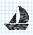 Sail Boat icon with pen effect on paper vector image
