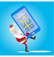 santa cell phone gift vector image vector image