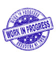 scratched textured work in progress stamp seal vector image vector image