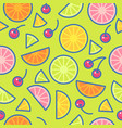 seamless pattern citrus and cherries vector image vector image