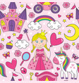 seamless pattern with beautiful princess vector image vector image