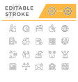 set line icons remote work vector image vector image