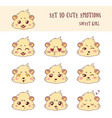 set of 10 colored funny girl cavy emoticons vector image