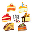 set of cake pieces with fruits white and black vector image