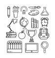 set study utensils to back school vector image vector image