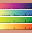 shanghai multiple color gradient skyline banner vector image