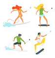 skateboarders and surfers selfie vector image