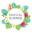 summer background with tropical leaves vector image vector image
