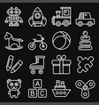 toys icons set on black background line style vector image vector image