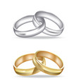 two golden and silver rings vector image vector image
