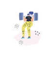 woman doing squats with barbell drawing vector image vector image