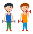 Young boy with dumbbells vector image vector image