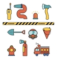 Fire-fighter elements set collection icons vector image