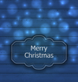 Christmas label on wooden texture with light - vector image