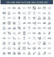 100 sea icons vector image vector image