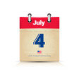 4 july calendar page united states independence vector image