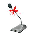 A Beautiful Conference Microphone with Red Ribbon vector image vector image