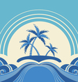 Abstract seascape with tropical palmsNature image vector image vector image
