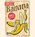 banana poster in vintage style vector image vector image