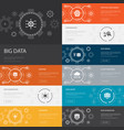 big data infographic 10 line icons banners vector image vector image