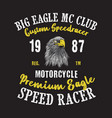 big eagle motorcycle club good for your t shirt vector image