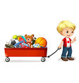 Boy pulling cart full of toys vector image vector image