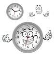 Cartoon gray office wall clock character vector image vector image