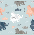 childish seamless pattern with cute elephant vector image