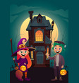 children in monster costumes witch and vector image vector image